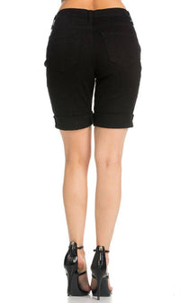Solid Black Vibrant Bermuda Shorts (Plus Sizes Available)