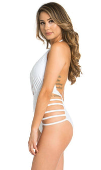 White Criss Cross Strappy One Piece Swimsuit - SohoGirl.com