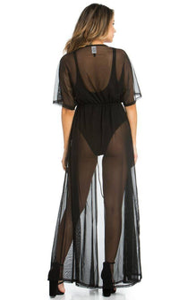 Black Sheer Mesh Maxi Duster