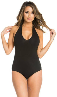 Halter Top Open Back Bodysuit in Black - SohoGirl.com