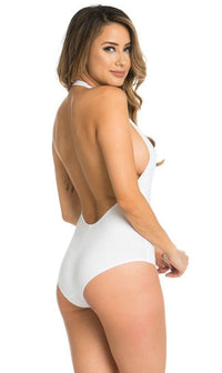 Halter Top Open Back Bodysuit in White