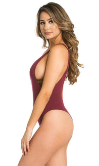 Burgundy Open Side Bodysuit - SohoGirl.com