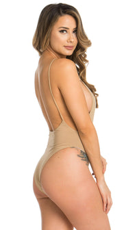 Spaghetti Strap Open Back Bodysuit in Nude