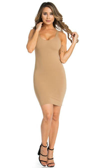 Basic Open Back Tank Dress in Beige
