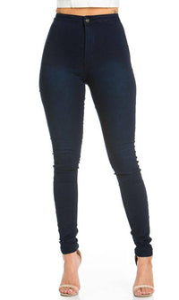Super High Waisted Stretchy Skinny Jeans in Dark Denim (Plus Sizes Available)