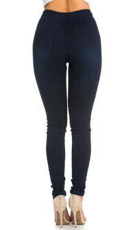 Super High Waisted Stretchy Skinny Jeans in Dark Denim (Plus Sizes Available) - SohoGirl.com