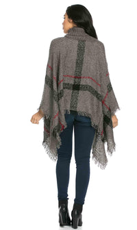 Jumbo Plaid Cowl-neck Poncho Sweater in Gray - SohoGirl.com