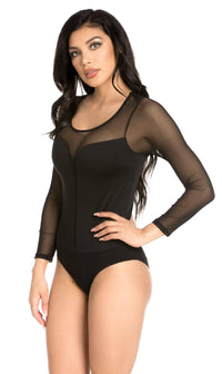 Plus Size Mesh Insert Long Sleeve Bodysuit in Black - SohoGirl.com