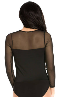 Plus Size Mesh Insert Long Sleeve Bodysuit in Black