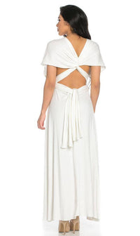 Multiway Slinky Maxi Dress in Ivory - SohoGirl.com