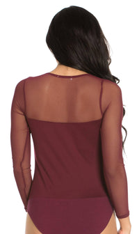 Mesh Insert Long Sleeve Bodysuit in Burgundy (Plus Sizes Available)