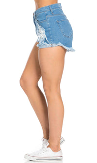 Vibrant Jeans Classic High Waisted Distressed Denim Shorts in Blue - SohoGirl.com
