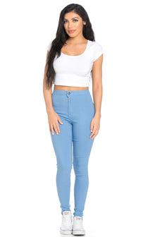 Super High Waisted Stretchy Skinny Jeans - Baby Blue - SohoGirl.com