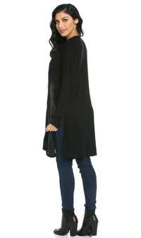 Long Ribbed Side Slit Cardigan in Black (S-3XL) - SohoGirl.com