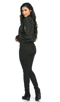 Lightweight Spring Bomber Jacket in Black - pallawashop.com