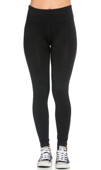 Basic High Waisted Nylon Sport Leggings in Black