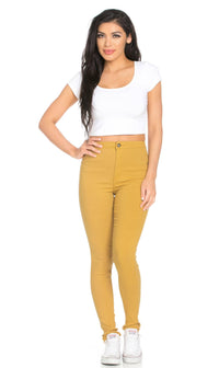 Super High Waisted Stretchy Skinny Jeans in Mustard (Plus Sizes Available)