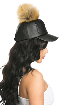 Faux Leather Pom Pom Cap in Nutmeg - SohoGirl.com