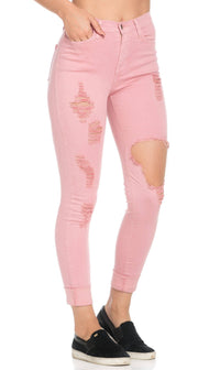 High Waisted Distressed Skinny Jeans in Dust Pink - SohoGirl.com