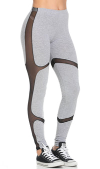 Mesh Insert High Waisted Sport Leggings in Gray