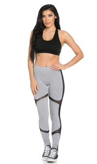 Mesh Insert High Waisted Sport Leggings in Gray - SohoGirl.com