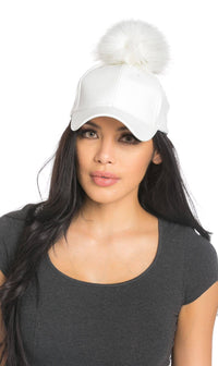 Faux Leather Pom Pom Cap in White and White