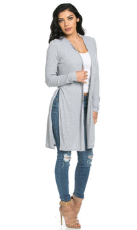 Long Ribbed Side Slit Cardigan in Gray
