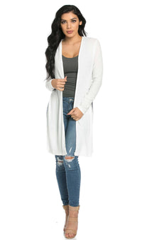 Long Ribbed Side Slit Cardigan in White (S-3XL) - SohoGirl.com