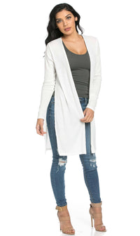 Long Ribbed Side Slit Cardigan in White (S-3XL)