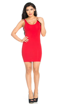 Basic Open Back Tank Dress in Red (S-XL) - SohoGirl.com