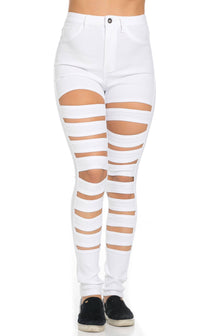 High Waisted Stretchy Cut Out Skinny Jeans in White - SohoGirl.com