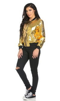 Soft Metallic Ribbed Bomber Jacket in Gold - SohoGirl.com
