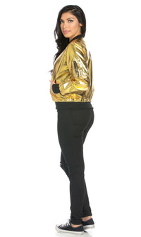 Soft Metallic Ribbed Bomber Jacket in Gold