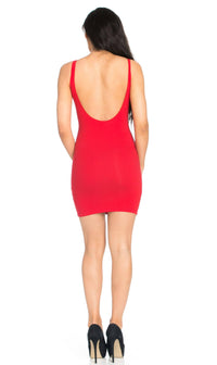 Basic Open Back Tank Dress in Red (S-XL)