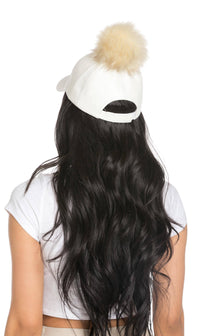 Faux Leather Pom Pom Cap in White - SohoGirl.com