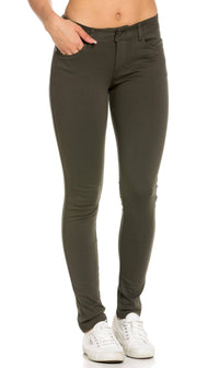 Classic Stretch Knit Skinny Pants in Olive (Plus Sizes Available)