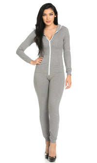 Hooded Zipped Up Jumpsuit Onesie in Gray