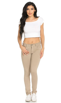 Classic Stretch Knit Skinny School Pants in Khaki (Plus Sizes Available S-3XL) - SohoGirl.com