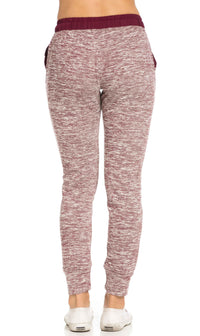 Comfy Banded Drawstring Jogger Pants in Burgundy