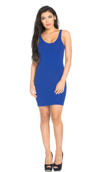 Basic Open Back Tank Dress in Royal Blue