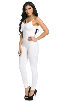 Pinch Front Camisole Unitard in White (S-XL) - SohoGirl.com