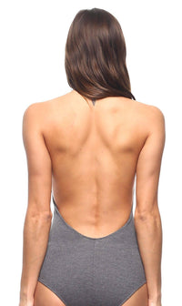 Halter Top Open Back Bodysuit in Gray