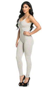 Pinch Front Camisole Unitard in Oatmeal (S-XL) - SohoGirl.com