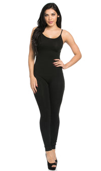 Basic Tank Top Unitard Jumpsuit in Black - SohoGirl.com