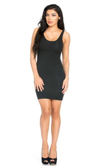 Basic Open Back Tank Dress in Black - SohoGirl.com