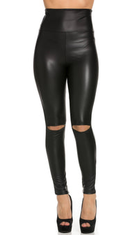 Super High Waisted Knee Slit Faux Leather Leggings in Black (Plus Sizes Available) - SohoGirl.com
