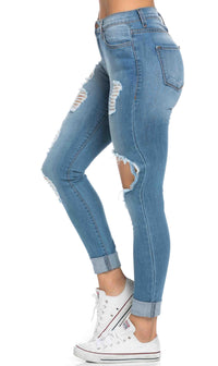 Vibrant Jeans High Waisted Distressed Skinny Jeans in Blue (Plus Sizes Available) - SohoGirl.com