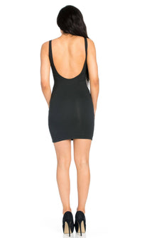 Basic Open Back Tank Dress in Black