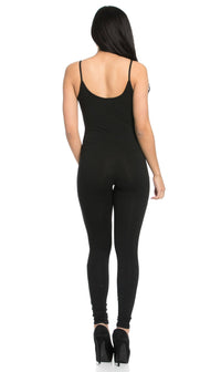 Basic Tank Top Unitard Jumpsuit in Black