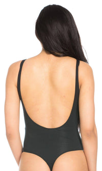 Basic Open Back Thong Bodysuit in Black